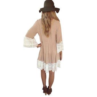 ZANZEA Lace Loose T-Shirt Tops Swing Mini Dress Casual Blouse (Khaki) - Intl
