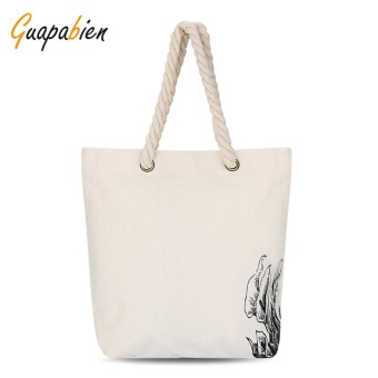 Guapabien Simple Cute Patterns Light Canvas Tote Bag for Women(Off White Flower) - intl