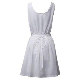 Zanzea Women Sleeveless Chiffon Deep Boat Neck Mini Dress (White) - Intl