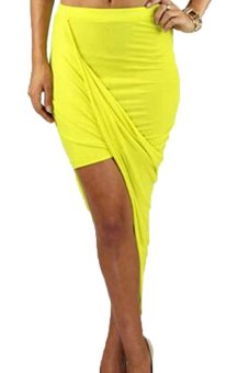 Package Hip Cut Out Asymmetrical Skirt (Yellow) - intl
