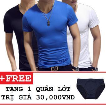 Bộ 3 áo thun nam body cổ tim tặng kèm quần lót ( Đen , Xanh Dương , Trắng )