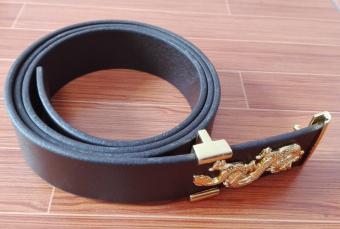 Dây thắt lưng da thời trang nam DLN003 (Nâu cafe mặt rồng vàng)