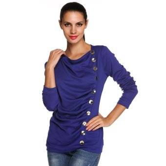 Sunweb Stylish ANGVNS Ladies Women Pleated O-neck Long Sleeve Solid Top Blouse ( Navy blue ) - intl