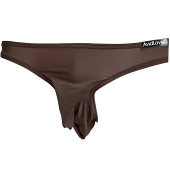 Cyber AVIDLOVE Mens Sexy Pouch Briefs Thongs G-string Stretch Solid Underwear(Coffee)