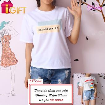 Áo Thun Nữ Tay Ngắn In Hình Black White Năng Động Tiano Fashion LV151 ( Màu Trắng ) + Tặng Áo Thun Nữ Ngắn Tay In Hình Ea7 Cá Tính Tiano Fashion