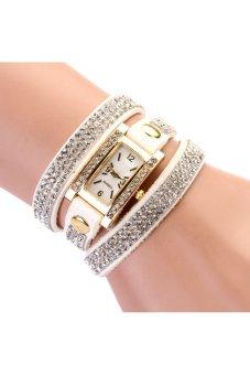HKS 2015 New Women Luxury Leather Dress Quartz Gold Wristwatch White - intl