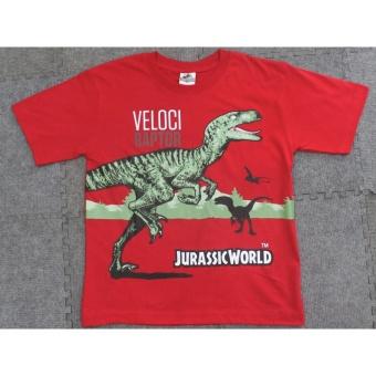 Áo thun hoạt hình khủng long ngắn tay cổ tròn màu đỏ ( 4 - 8 tuổi )