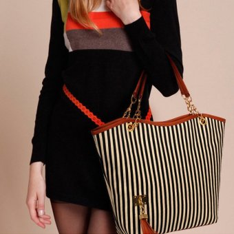 Women Street Tote Shoulder Bag Canvas Handbag Purse Tassel Stripe Black - intl