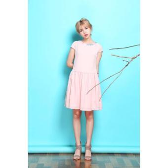 Đầm voan phối cổ hoa (Màu hồng)
