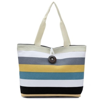Lady Colored stripes Shopping Handbag Shoulder Canvas Bag Tote Purse Khaki - intl