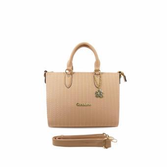 Túi xách tay nữ họa tiết chỉ thêu CARLO RINO 0303235-002-21 (màu beige)