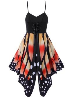 Gamiss Women Fashion Butterfly Print Lace Up Slip Dress(Orange) - intl