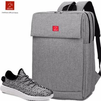 Combo Balo Cylinder BLC006GR(Xám) + Giày Sneaker GS011WH (Trắng) - CB004