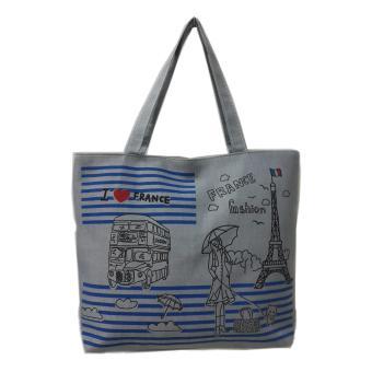 Túi Vải Tote Họa Tiết I Love France Xám Xinh Store