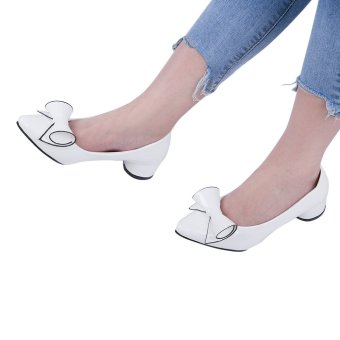 Fashionable Pointed Toe Bowknot PU Leather Low Heel Shoes(White) - intl