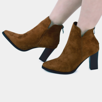 Stylish Zipper Design Buckle Decoration Pointed Toe Ladies Thick Heel Ankle Boots(Brown) - intl