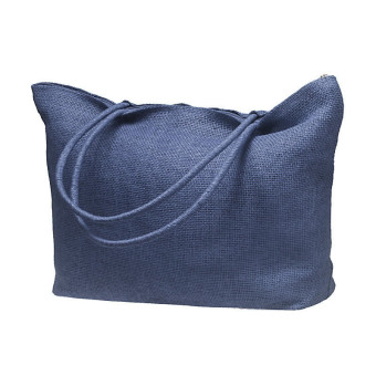 Simple Candy Color Large Straw Beach Bags Women Casual Shoulder Bag Dark Blue