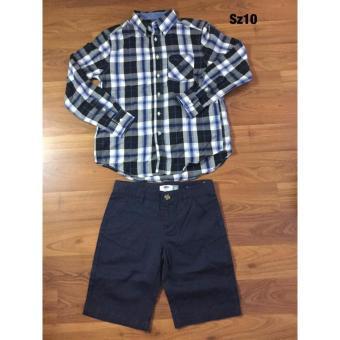 Sét quần jean áo sơ mi bé trai -10T-(caro đen)