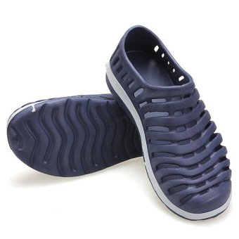 Men Hollow Sneakers Beach Sandals Slip On Loafer Slipper Breathable Stripe Shoes - intl