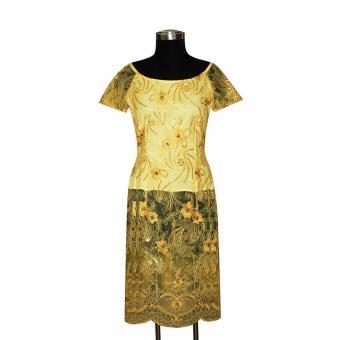 Áo dài cách tân ren thêu đính kim sa tay ngắn Tri Lan AD018 (Vàng)