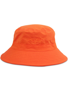 Unisex Adults Kids Solid Color Sun Protection Bucket Hat Cap with Adjustable Chin Cord Orange - Intl - intl