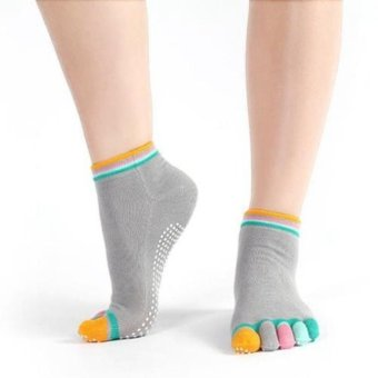 Women Cotton Yoga Gym Toe Colorful Non Slip Massage Socks Full Grip Heel Socks NEW - intl