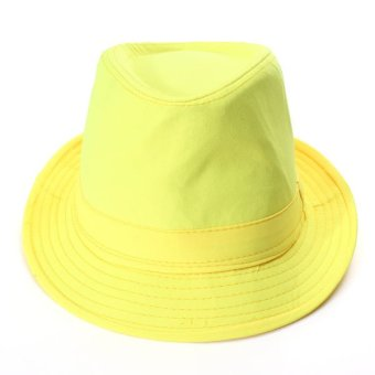Unisex Jazz Neon Panama Fedora Trilby Cowboy Caps Sun Beach Hat Fluorescent Candy Color Hats - Intl