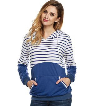 Cyber Finejo Fashion Casual Women Striped Patchwork Spring Autumn Hoodies - Intl
