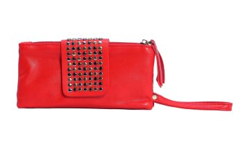 niceEshop PU Leather Bling Rivet Evening Clutch Bags Purse Wallet, Bright Red
