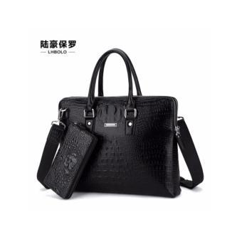 Túi xách công sở đựng laptop kèm ví tay da thật vân cá sấu màu đen