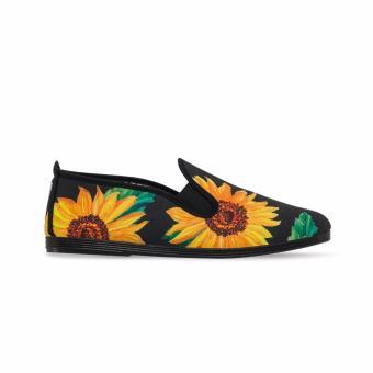 Giày Lười Flossy W Yaiza (Đen Họa Tiết Hoa Hướng Dương)