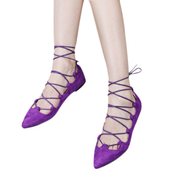 Retro Antiskid Pointed Toe Cross Strappy Suede Flat Shoes(Purple) - intl