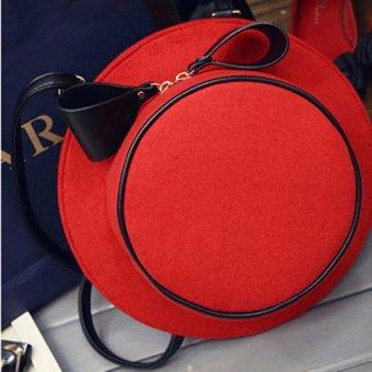 Women Flannel Hat Shape Messenger Shoulder Crossbody Bag Backpack Tote Handbag Red - intl