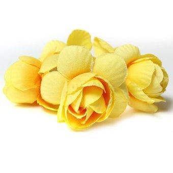 Women Flower Scrunchie Bun Garland Floral Head Knot Hair Top Band Elastic Bridal Yellow - Intl