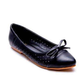 Giày búp bê khắc laser đính nơ Mozy MZBB37(Đen)