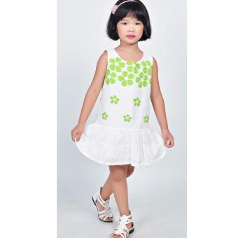 Đầm thêu hoa mai Somy Kids xanh lá