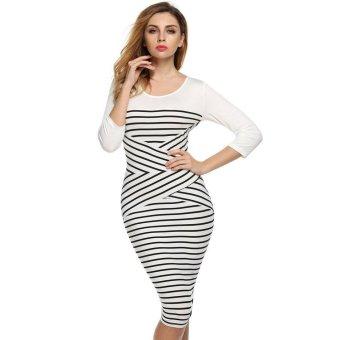 Sunweb FINEJO Fashion Women Casual O-neck 3/4 Sleeve Patchwork Striped Bodycon Dress ( White ) - intl