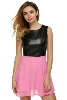 Cyber Zeagoo Women Casual O-Neck Sleeveless Leather Chiffon Patchwork Mini A-line Dress ( Pink ) - Intl