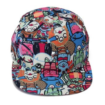 Unisex Vintage Zombie Snapback Hats Hip-Hop Dance Adjustable BBoy Baseball Cap Blue - intl
