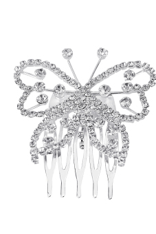 Elegant Women Rhinestone Butterfly Hair Comb Clip Shiny Wedding Bridal Hair Accessory