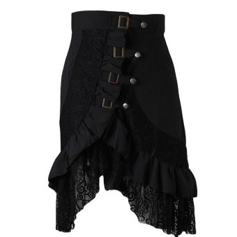 LALANG Women Gothic Style Punk Skirt Patchwork Lace Hem Midi Skirt (Black) - Intl
