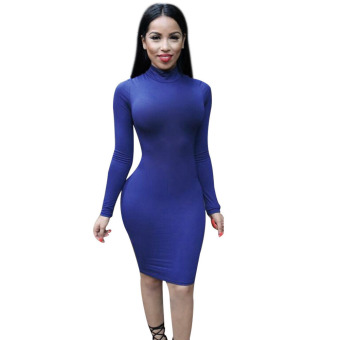 Women Backless Bandage Bodycon Dress Blue - intl