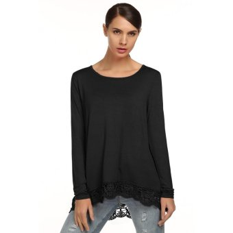 Linemart Meaneor Women Fashion Casual Loose Long Sleeve Lace Patchwork Tops Blouse ( Black ) - intl