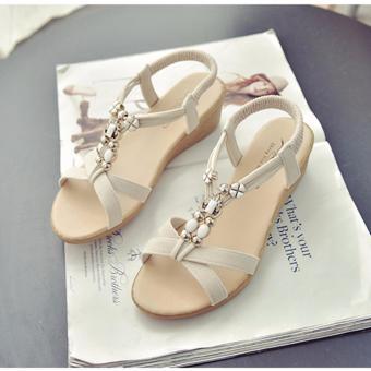 Giày xăng đan nữ đế bằng đính hạt (trắng)