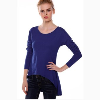 Sunweb Meaneor Stylish Lady Women Fashion Casual Long Sleeve Irregular Solid Shirt Blouse Top ( Dark blue ) - intl