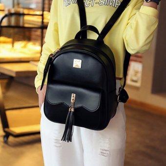 Vintage Women PU Leather Tassels Backpack Shoulder Bag Schoolbag Rucksack Black - intl