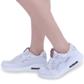 Fashionable Solid Color Patchwork Breathable Sports Shoes(White) - intl