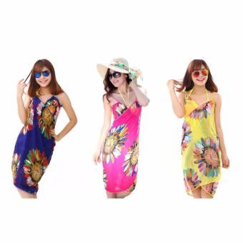 Bộ 3 khăn choàng sarong đi biển (Hồng + Xanh + Vàng)