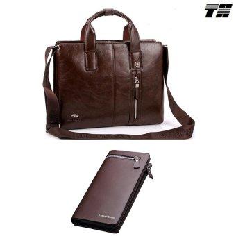 Bộ cặp xách da và ví cầm tay công sở phong cách THCB09