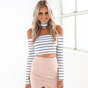 Sexy Stripe Print Crop Top Women Boat Neck Off-the-shoulder Long Sleeve Back Zipper (White) - intl